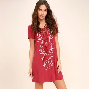 "Lulu's ""Down in Kokomo"" Red Embroidered Dress"